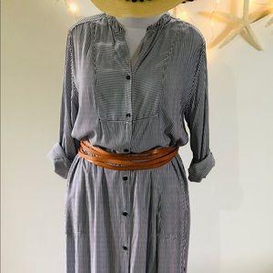 DKNY B+W Stripe Maxi Shirt Dress Caftan Topper